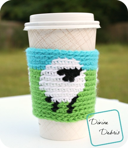 Dancing Sheep Mug Cozy free crochet pattern by DivineDebris.com