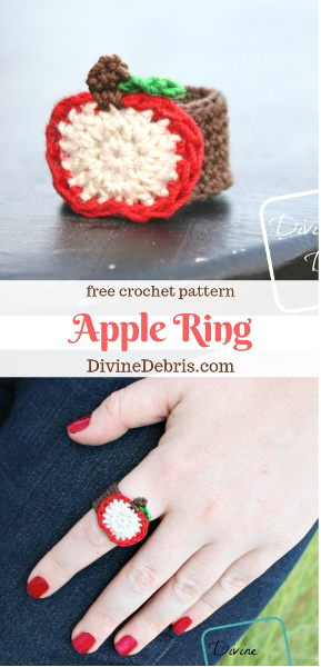 Apple Ring free crochet pattern by DivineDebris.com #crochet #freepattern #rings #jewelry #crochetthread