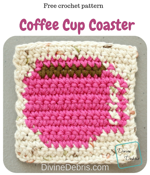 Coffee Cup Coaster free crochet pattern by DivineDebris.com #crochet #freepattern #tapestry #coasters #coffee