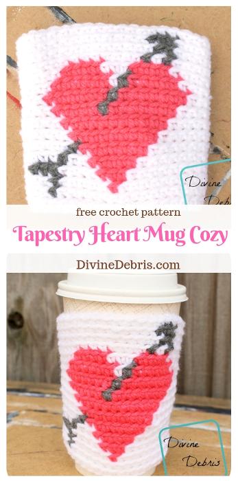 Tapestry Heart Mug Cozy free crochet pattern by DivineDebris.com #freepattern #crochet #Valentines #MugCozy
