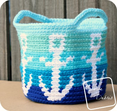Anchors Away Basket crochet pattern by DivineDebris.com