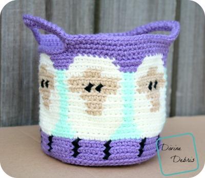 Dancing Sheep Basket crochet pattern by DivineDebris.com