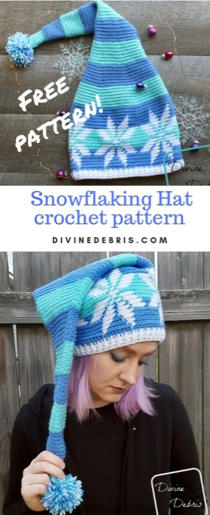 Snowflakeing Hat free crochet pattern by DivineDebris.com