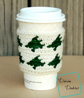 Trees All Around Mug Cozy crochet pattern by Divine Debris