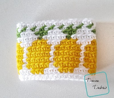 Pineapples Mug Cozy free crochet pattern by Divine Debris
