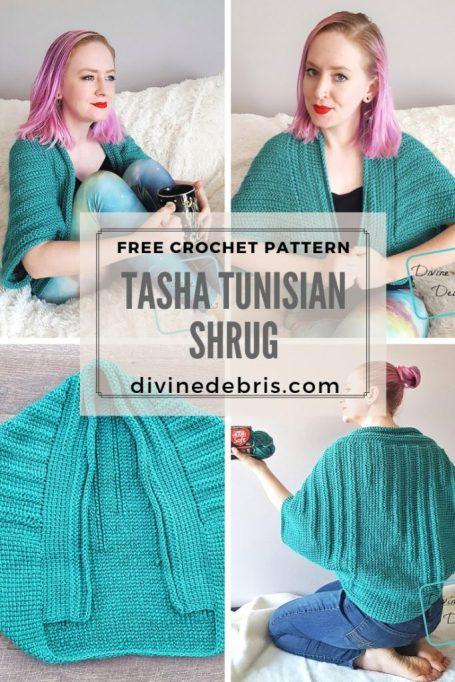 Tasha Tunisian Shrug free crochet pattern by DivineDebris.com