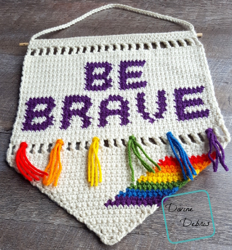 Be Brave Wall Hanging free crochet pattern by Divine Debris