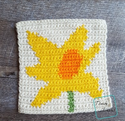 "8"" Tapestry Daffodil Afghan Square crochet pattern by divinedebris.com"