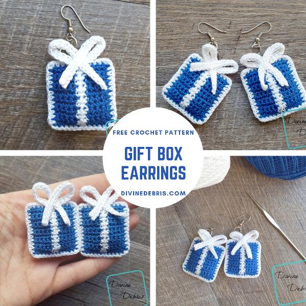 Gift Box Earrings free crochet pattern by DivineDebris.com