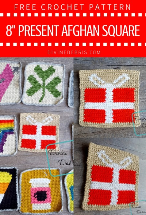 """8"""" Tapestry Present Afghan Square free crochet pattern by DivineDebris.com"""