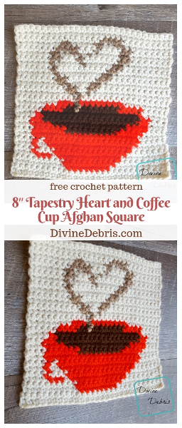 """8"""" Tapestry Heart and Coffee Cup Afghan Square free crochet pattern by DivineDebris.com #crochet #freepattern #tapestry #coffee #afghansquares"""