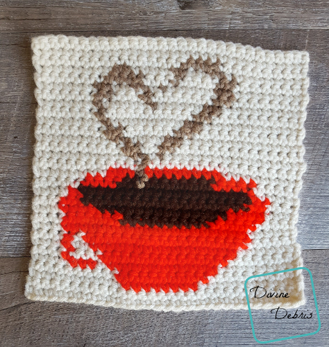 "8"" Tapestry Heart and Coffee Cup Afghan Square free crochet pattern by DivineDebris.com"