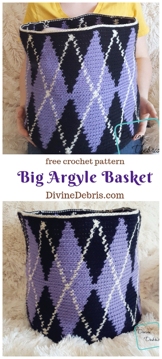Big Argyle Basket crochet pattern by DivineDebris.com