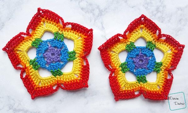 Learn to make Rainbow Mini Mandala Crochet Earrings by DivineDebris.com