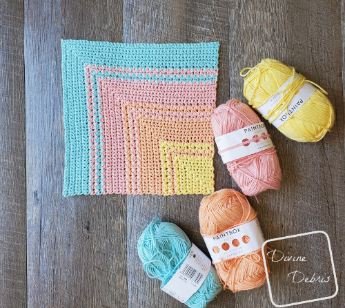 Learn to make a sunset inspired crochet washcloth with spike single crochets on DivineDebris.com