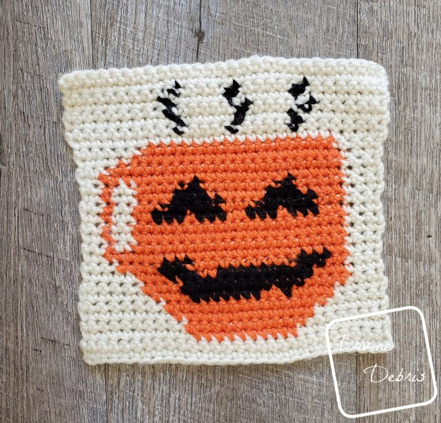8″ Coffee-O-Lantern Afghan Square a free crochet pattern by DivineDebris.com