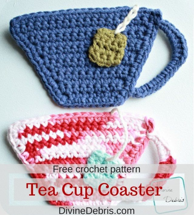 Tea Cup Applique/ Coaster free crochet pattern by DivineDebris
