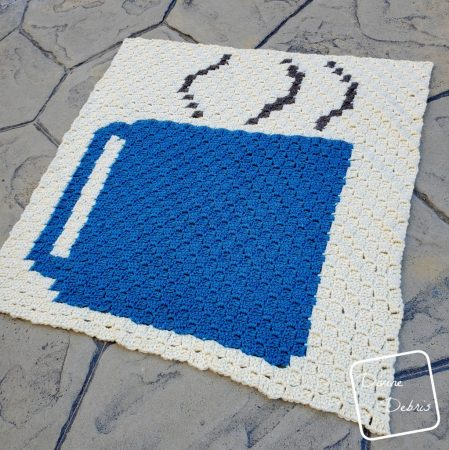 Learn to make the coffee lover's dream, a Steaming Coffee Cup Afghan C2C Crochet Square from a free graph on DivineDebris.com