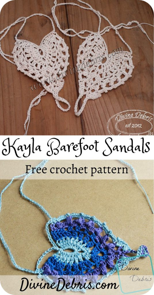 Learn to make these fun and delicate barefoot sandals, the Kayla Barefoot Sandals, from a free crochet pattern on DivineDebris.com