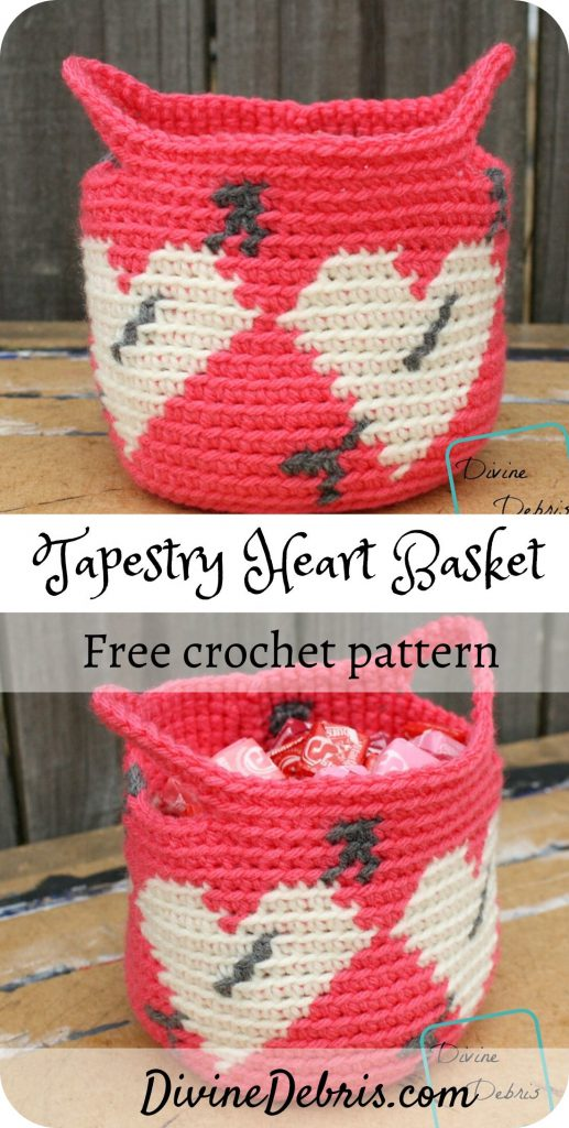 Tapestry Heart Basket free crochet pattern