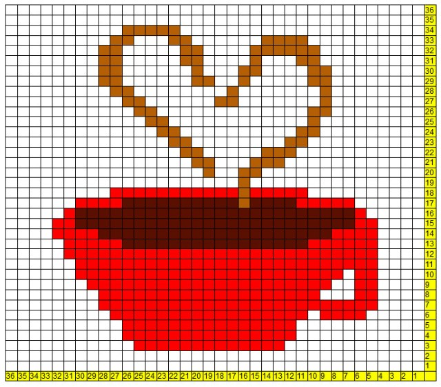 Learnt to make the Heart and Cup C2C Afghan Square from a free pattern on DivineDebris.com