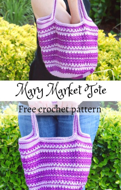 Learn to make a fun and easily customizable v-stitch based market tote bag, the Mary Market Tote Bag, from free on DivineDebris.com