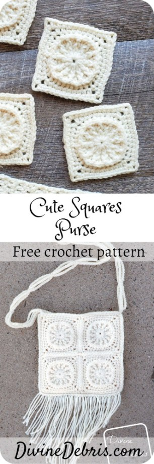 Learn to make a fun and geometric purse, the Cute Squares Purse, from a free crochet pattern on DivineDebris.com#crochet #freepattern #purse