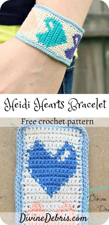 Use up some of that crochet thread you've got by learning to make the Heidi Hearts Bracelet, a free crochet pattern on DivineDebris.com#crochet #freepattern #bracelets #jewelry #crochetthread