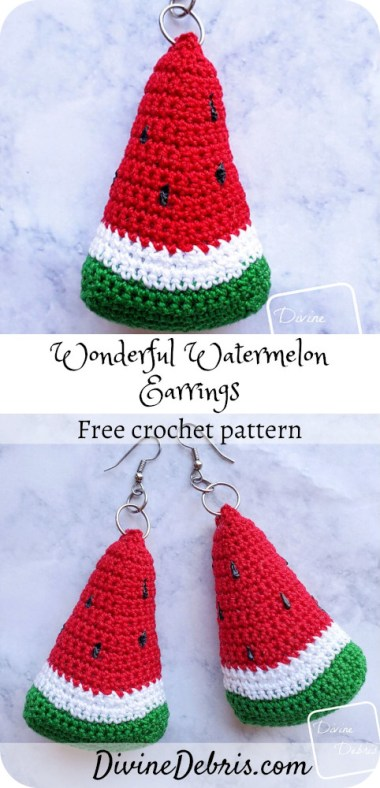 Be stylish and perfect for the Summer in these easy Wonderful Watermelon Earrings free crochet pattern by DivineDebris.com#crochet #freepattern #earrings #watermelons #crochetthread #jewelry