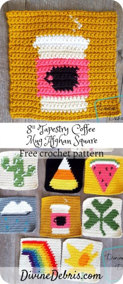 """Learn to make the 8"""" Tapestry Coffee Mug Afghan Square, and learn about the 2019 Coffee Square CAL, free crochet pattern by DivineDebris.com#crochet #freepattern #afghansquares #tapestrycrochet #coffee #yarn"""