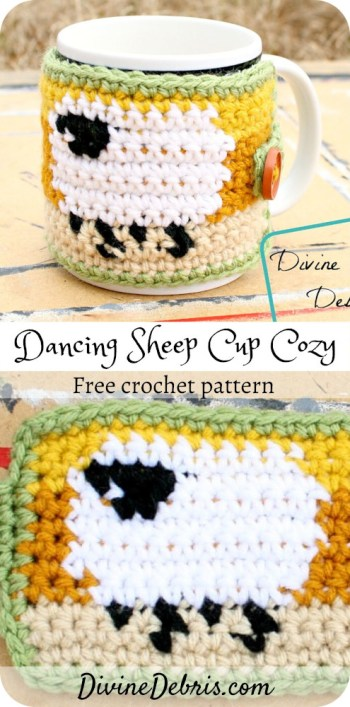 Show some appreciation for squishy and cute sheep with this easy Dancing Sheep Cup Cozy crochet pattern on DivineDebris.com.#crochet #mugcozy #sheep #tapestrycrochet #freepattern
