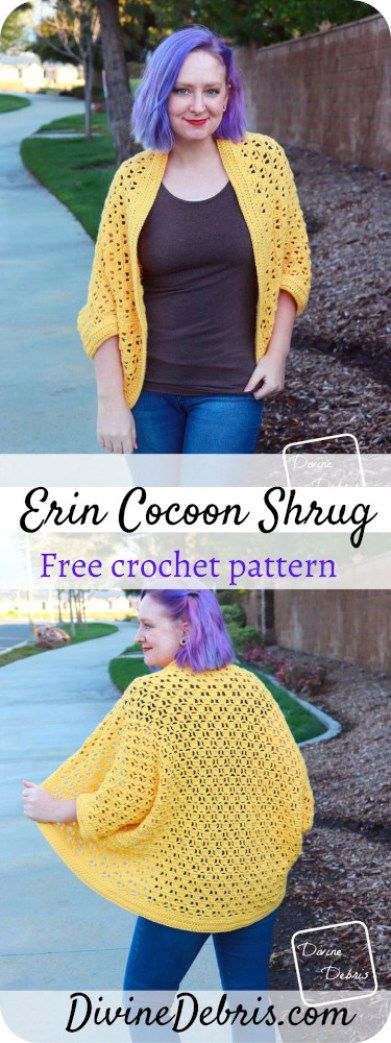 Learn to make the Erin Cocoon Shrug free crochet pattern by DivineDebris.com