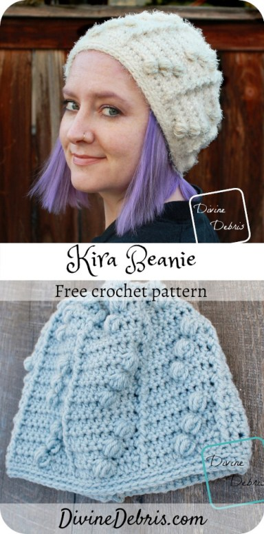 Learn to make the Kira Beanie, a super easy and fun crochet beanie pattern featuring bobbles and texture, from free pattern on DivineDebris.com#crochet #freepattern #beanies #hats #worstedweight #bulkyweight #yarn