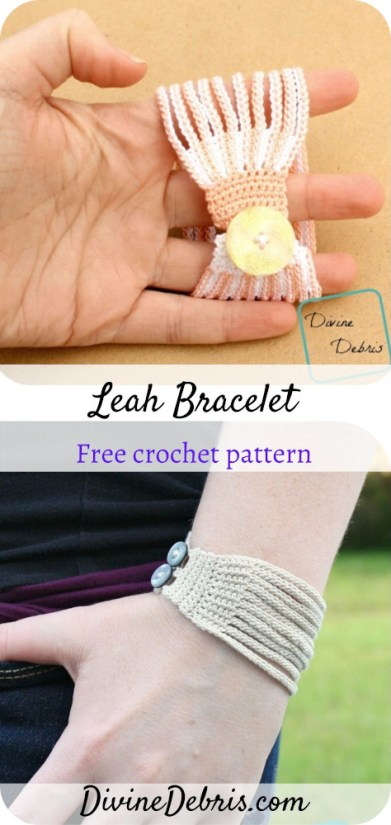 Learn how to make the surprisingly easy and customizable Leah Crochet Bracelet from a free crochet pattern by DivineDebris.com