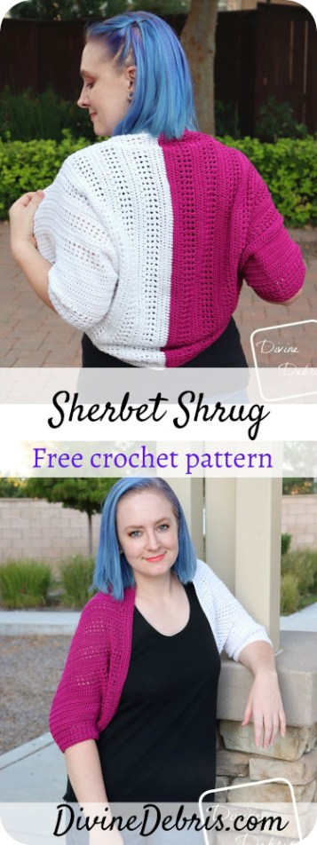 Get fashionable and cozy in the Sherbet Shrug, a free crochet pattern by DivineDebris.com. It's easy and fun to customize!