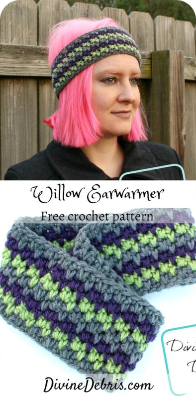 Make this warm and fun headband from a simple combination of stitches, the Willow Earwarmer free crochet pattern by Divine Debris.#crochet #earwarmer #freepattern