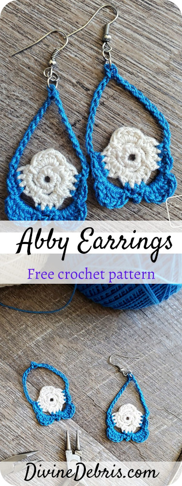 Learn to make the Abby Earrings, a fun teardrop shaped earring made from crochet thread, from a free crochet pattern on Divinedebris.com