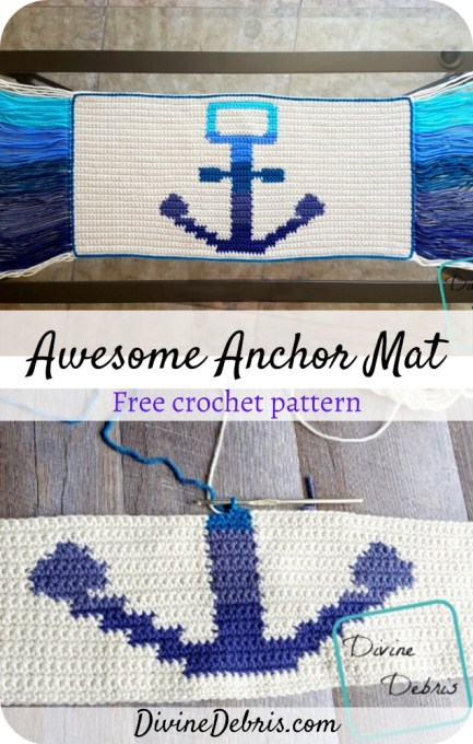 Learn to make the Awesome Anchor Mat for your home or for someone else from this free crochet pattern by DivineDebris.com