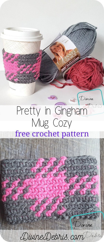 Learn to make the fun and eye-catching mug cozy pattern, the Pretty in Gingham Mug Cozy, from a free crochet pattern by DivineDebris.com