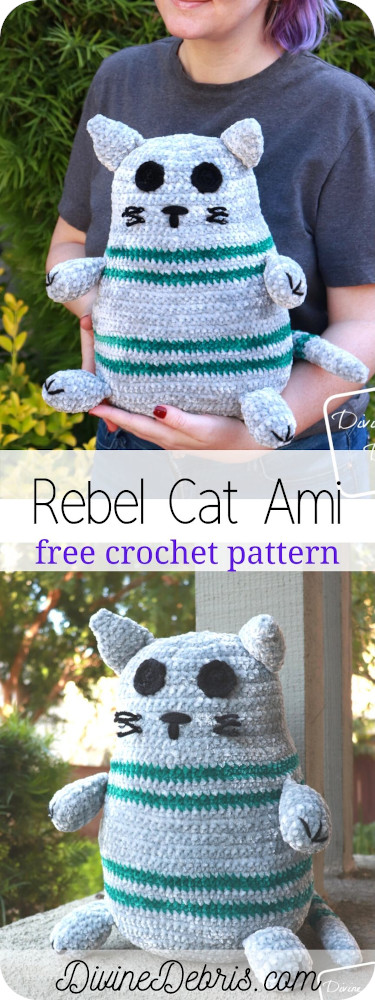 Learn to make the fun and easy Rebel Cat Amigurumi, a simple striped cat softie, from a free crochet pattern on DivineDebris.com