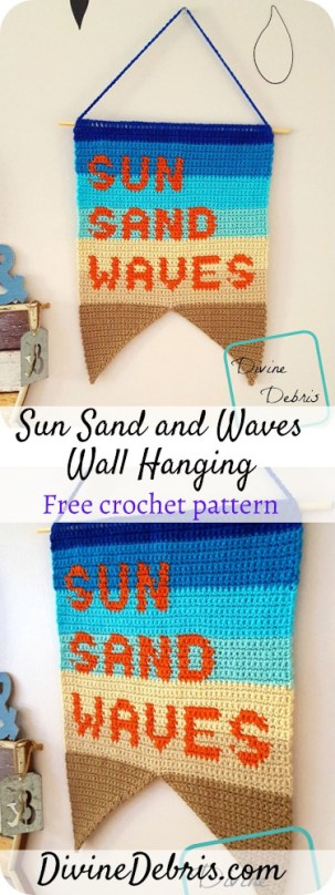 Learn to make the Sun, Sand, and Waves Wall Hanging, to bring the Summer into your home, from a free crochet pattern on DivineDebriscom