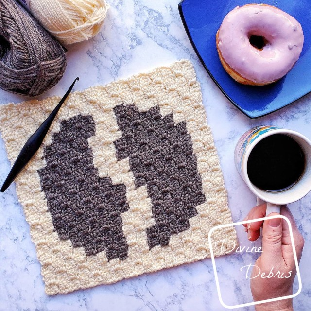 Tiny Coffee Bean C2C Afghan Square free crochet pattern by DivineDebris.com