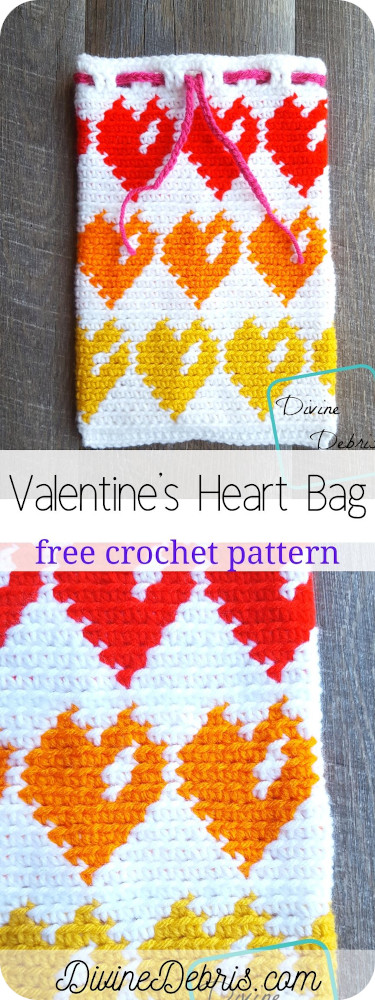 Make a perfect bag to store all the sweet treats and mementos you get with this Valentine's Heart Bag free crochet pattern by DivineDebris.com