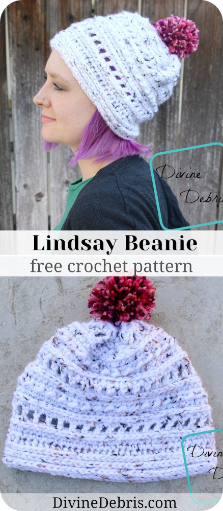 Make your winter wonderful and cozy with this easy Lindsay Beanie free crochet pattern. It's quick to make and simple to customize!