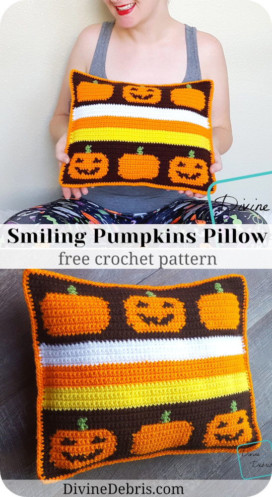 Learn to make the super fun, unique, and retro Smiling Pumpkins Pillow from a free and easy Halloween themed crochet pattern on DivineDebris.com