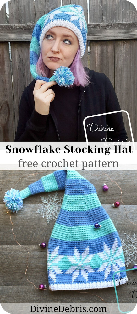 Get into an elf like mood with this fun and creative Stocking Snowflake Hat from a free crochet pattern by DivineDebris.com