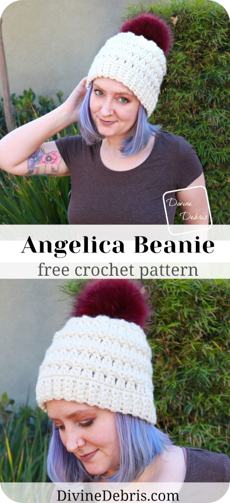 Learn how to make the Angelica Beanie, a simple crochet design using super bulky yarn, from a free crochet pattern by DivineDebris.com