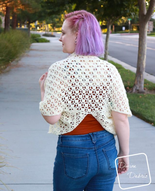 Erin Split-Back Cardigan free crochet pattern by DivineDebris.com