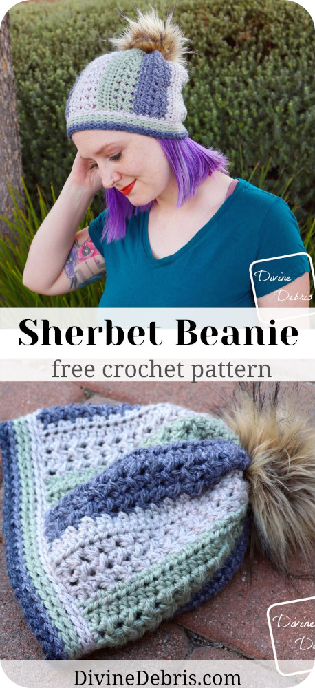 This simple and fast Sherbet Beanie crochet pattern will be one of your favorite stashbusting designs for any season and makes a perfect gift.