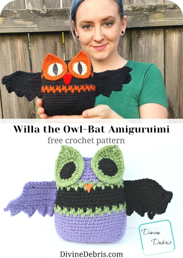 Learn to make a fun and easy crochet owl and bat amigurumi mashup, the Willa Owl-Bat, from a free crochet pattern on DivineDebris.com